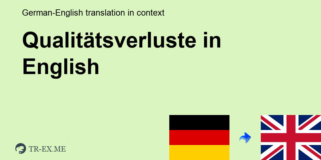 Was Bedeutet QUALITÄTSVERLUSTE auf Englisch - Englisch