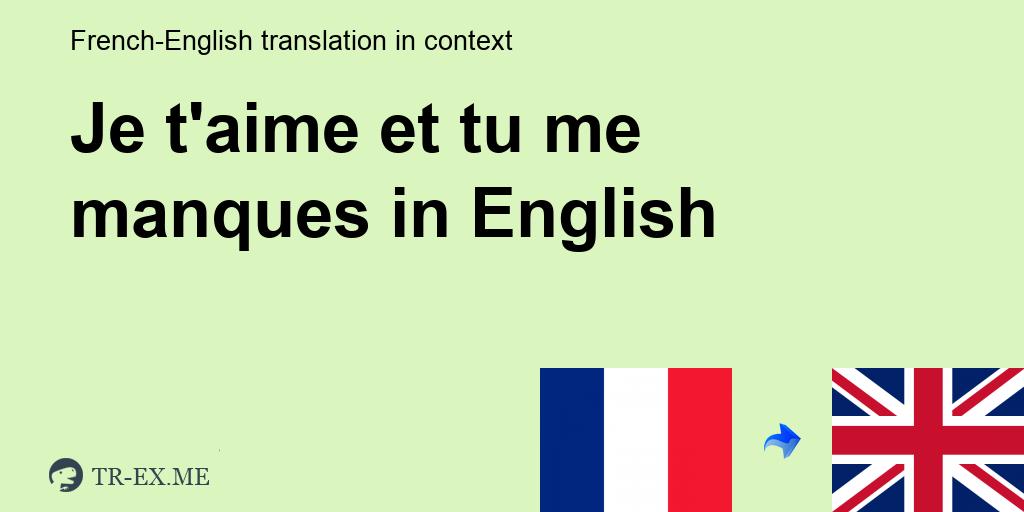 Je Taime Et Tu Me Manques Traduction En Anglais